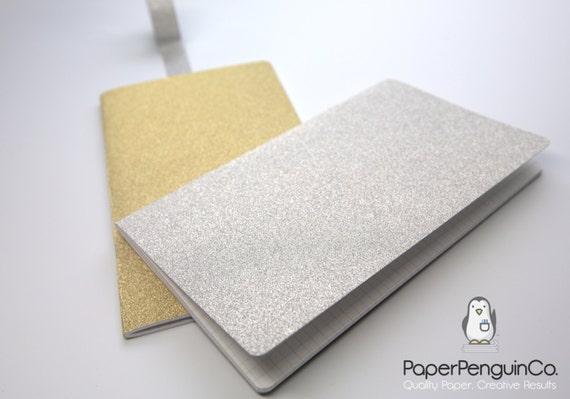 Midori Insert Sparkle Silver Gold Travelers Notebook Regular Wide B6 Personal A6 Pocket Field Notes Passport Mini / Grid Dots Lined Blank