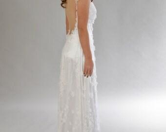 Sale!!! Flower wedding dress, Backless Wedding dress, Lace wedding dress, Bridal dress, Wedding dress.