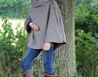 New Sale price ~Tweed Cape in Light brown herringbone wool/tweed