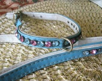Vintage Leather Rhinestone Dog Collar & Leash set
