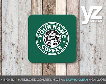 Personalized Starbucks Coasters (Set of 4) | Print Your Name Coasters | Starbucks Coasters | Inspired Starbucks Coasters | Gift Coasters