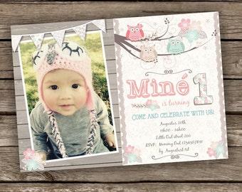 Owl Birthday Invitation, Floral Owl Invitation, Pastel Girl Invitation, Pink Owl Invite, Photo Invitation, Printable Digital Invitation