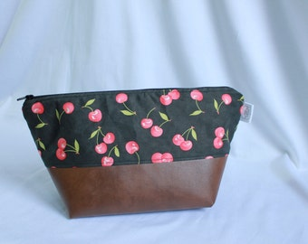 Makeup/Cosmetics Bag - Size Medium - Faux Leather/Dark Grey With Cherries - Water Repellent Nylon Lining