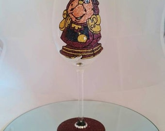Beautifully Hand Decorated Glitter Glass - Beauty & The Beast Inspired 'Cogsworth' Glass