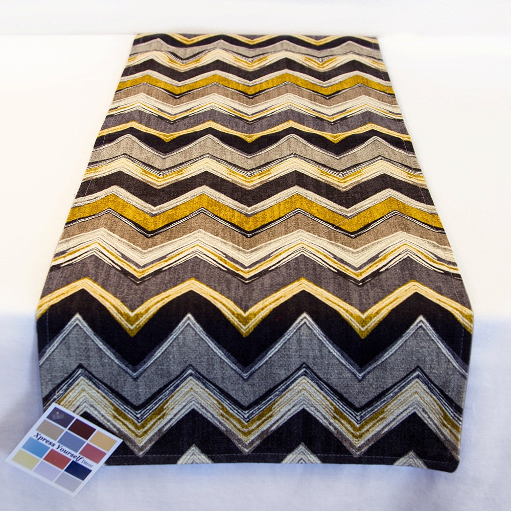 gray and gold table runner in chevron print 13 x 36 inch. Black Bedroom Furniture Sets. Home Design Ideas