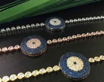Evil Eye Bracelet As Seen On Kim Kardashian And Kelly Ripa - NEW -Celebrity Style, Sterling Silver Lucky EyeYellow Gold Evil Eye Bracelet CZ