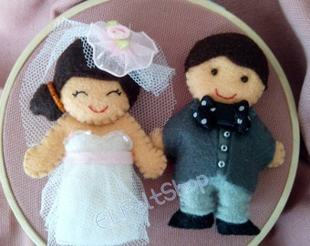 Bride and groom personalized felt. Keychains or picture with frame