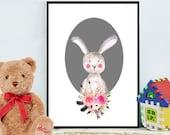 Bunny Print, Nursery Decor, Watercolor Rabbit, Nursery printable,  Nursery Wall Art, Woodland Nursery, Instant Download