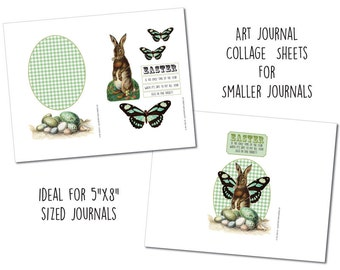 Easter Bunny - Small Art Journal Collage Sheets