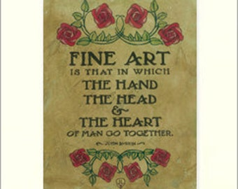 Ruskin - Fine Art: Matted Giclée Art Print by The Bungalow Craft by Julie Leidel (Arts & Crafts Movement)