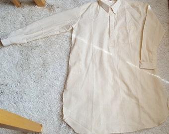 Vintage Cream Collar Long Sleeves Tunic Dress