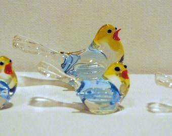 Hand Blown Glass Bird Set of 4
