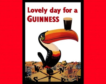Printed on textured bamboo Art paper - Guinness Poster Beer Poster Vintage Print Retro Kitchen Kitchen Guiness Poster  Beer   bp