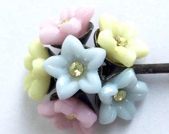 Vintage Pastel Flowers Pin