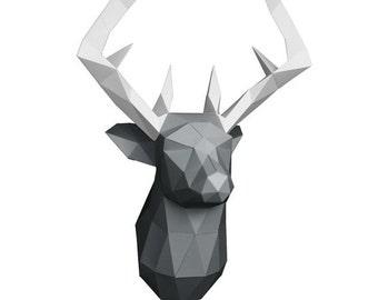 Deer Head, Deer Antler, Deer Paper, Deer Low Poly, Paper Trophy Deer, Paper Model, Wall Decoration, DIY Kit, Paper Sculpture