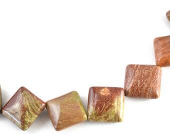 Jasper Square Gemstone Beads 1 strand 20 PCs Size 15mm Hole Size 2mm Natural, healing, chakra, birthstone for Jewelry Making
