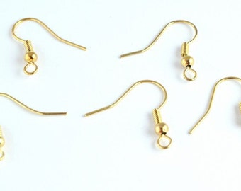 Fishhook 18K Gold Filled earring findings Size 19x15mm wire thickness 1mm ball size 3mm to make your own Earring GF9003