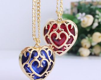 Zelda Heart Necklace, Keychain, Heart Container, Red or Blue Heart Piece