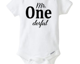 Mr ONE derful boy birthday bodysuit First Birthday Mr Onederful Outfit  Cake Smash Outfit 1 Year Old Bday Boy 1st Birthday Baby Boy Onesie,