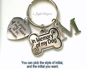 Loss of Dog Gift Keyring, Memorial Jewelry Sympathy Death Keychain A piece of my heart is in heaven with initial letter in memory of my dog