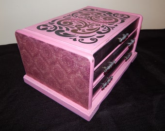 Jewelry Box,Upcycled,Pink,Stenciled,Decoupaged,Jewelry Storage,Great gift Mom,Aunt,Sister,Daughter,Grandma,Friend, Mothers Day,