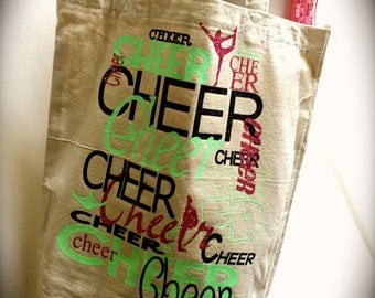 Cheer Bag CHOOSE your colors~CHEER Canvas Tote Bag
