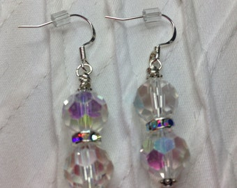Crystal Clear Earrings/ free shipping