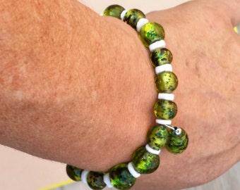 Green Speckled Stretch Bracelet