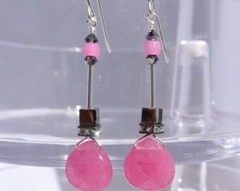Pink Quartz Earrings, Pink Earrings, Cube Earrings, Swarovski Earrings, Dangling Earrings, Modern Earrings, 1003