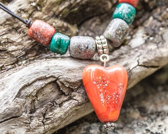 Coral heart lampwork necklace