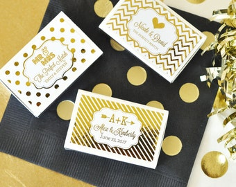 100 Metallic Foil Personalized Wedding Match Boxes - Wedding, Gold, Rose Gold or Silver Foil Metallic Favors - (set of 100)
