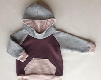Raglan Sleeve Baby Hoodie-Purple and Grey with Stripes