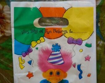 Vintage 90s Troll Colorful Party Favors. Vintage 90s Troll Party Favor Bags. Colorful Vintage 90s Troll Memorabilia Loot Bags.