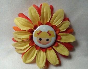 La La Loopsy FLOWER HAIR CLIP yellow redwith Spot Splatter Splash center, lala loopsy hair bows, la la loopsy hair clips, la la loopsy clip
