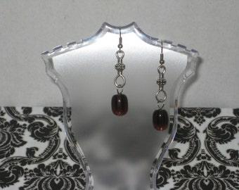 Silver Earrings with Purple Glass Oblong Bead with Fish-Hook Connector (Costume Jewelry) (E-5)