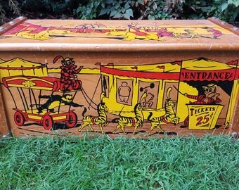 Circus toy box etsy for Mid century modern toy box