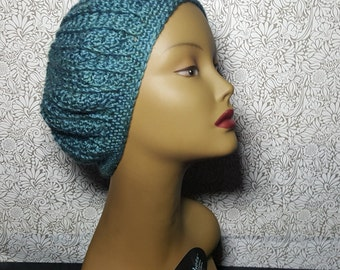 Turquoise Crocheted Beret
