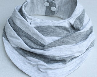 Baby Bandana Bib Gray Stripes