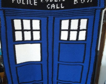 Dr. Who police phone box Afghan