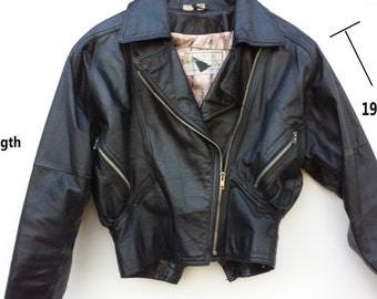 Vintage Leather Biker Jacket Women's Medium Pattern Lining