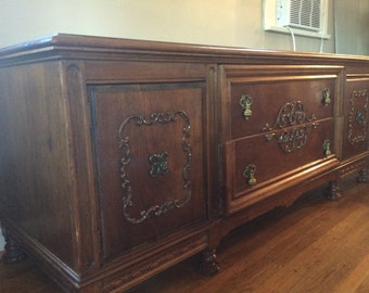 Hollywood Regency Credenza Solid Wood circa 1930's