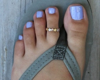 Aloha Lei Toe Ring in Your Choice: Sterling, 3/Color, or 14K Gold