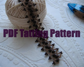 PDF Tatting pattern Bracelet Necklace Hearband Shuttle tatted beaded lace hand made Tatted beaded jewelry