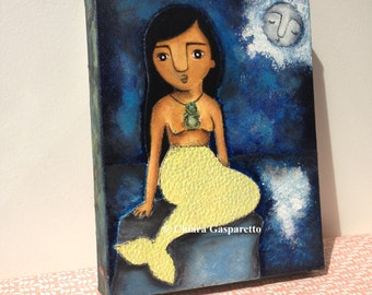 Pania Of The Reef, An Original Mixed Media Painting by ChiarArtIllustration