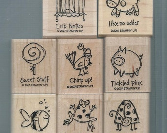 Stampin Up VERY PUNNY Mounted Rubber Stamp Set - Set of 8