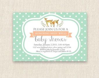 woodland themed baby shower invitation printable, digital file printable