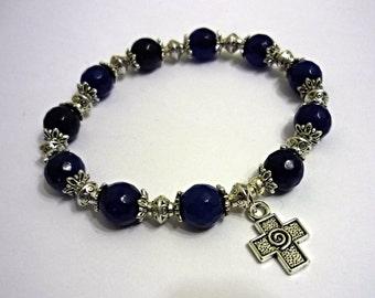 Blue beaded agate bracelet with christian cross