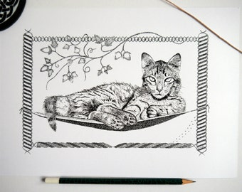 Hammock Cat - Pen and Ink Illustration A4 Print