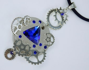Necklace glamour steampunk in blue concrete jewellery to the Navy blue silk ribbon unique silver gears Strass stones concrete jewelry