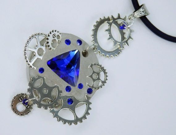Necklace Glamour steampunk in blue concrete jewelry on the dark blue silk ribbon unique silver toothed rhinestones concrete Jewelry